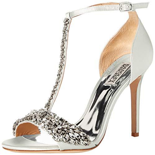 (Badgley Mischka Women's Veil Heeled Sandal, Soft White Satin, 5.5 M US)