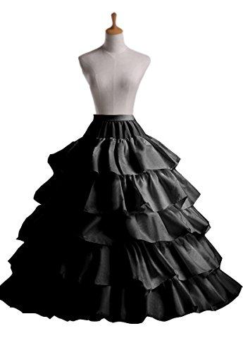 Edith qi Petticoat Enagua 3/4/6 Aros, Largo Miriñaque, Crinolina Vestido de Novia, Aros Ajustable, Un tamaño, Conveniente para el tamaño XS-XXL 4 Hoop/Black