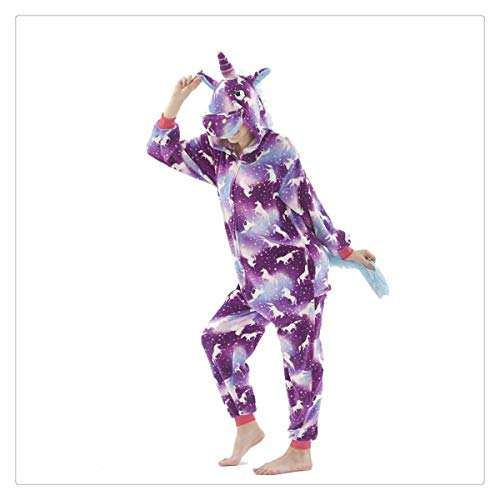 Unicorn Pajamas Women Animal Pajama Stitch Adult Cartoon Sleepwear Unisex Winter Warm Flannel Hooded Homewear Purple Night 1 S]()