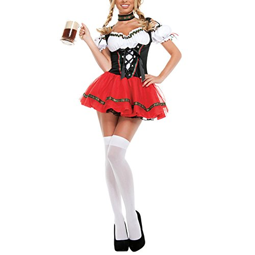 Beer Girl Sexy Costumes (ONAMANO Women's Oktoberfest Costume Bavarian Beer Girl Dirndl Dress Halloween Costume (S))