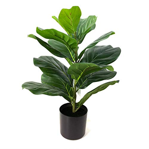 BESAMENATURE Artificial Mini Fiddle Leaf Fig Tree, Faux Tree Used for Indoor Decor, 22 inches Tall, Green
