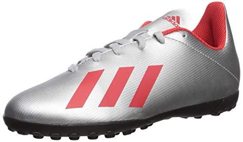 adidas Unisex X 19.4 Turf Soccer Shoe, Silver Metallic/hi-res red/White, 11.5K M US Little Kid