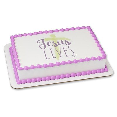 Jesus Lives Edible Icing Image for 8 inch round cake