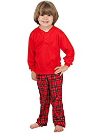Tom & Jerry Boys Christmas Morning Red Henley Shirt and Plaid Pants Set (8 - 14)