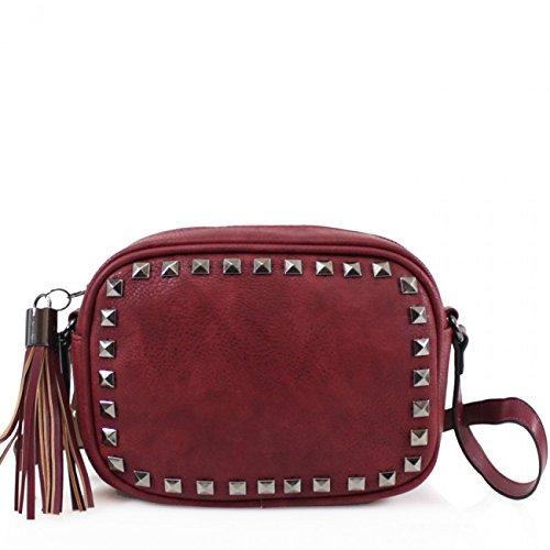 Women CROSS Size BAG Cross BURGUNDY Handbag STUDDED Small Body Bag Studded For Fancy Women's BODY LeahWard vxBawqORZ