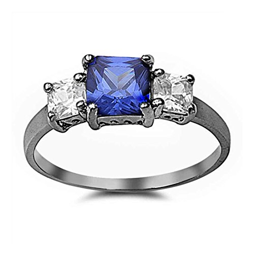 Blue Apple Co. Wedding Engagement Ring Princess Cut Simulated Tanzanite Clear CZ Black Tone Plated 925 Sterling Silver