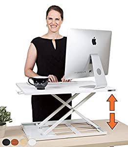 X-Elite - Stand Steady Standing Desk | X-Elite Pro Version, Instantly Convert Any Desk into a Sit / Stand up Desk, Height-Adjustable, Fully Assembled Desk Converter (White)