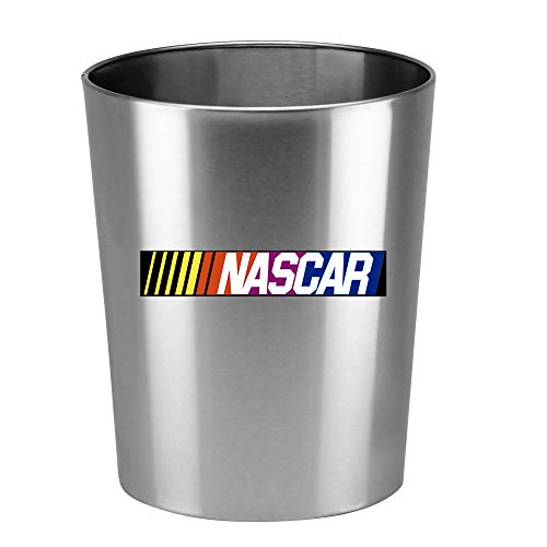 Round Silver Aluminum Finish Wastebasket Trash Can Featuring Your Choice of a Sports Themed Vinyl Decal - Free Trash Bag Included (Baseball)