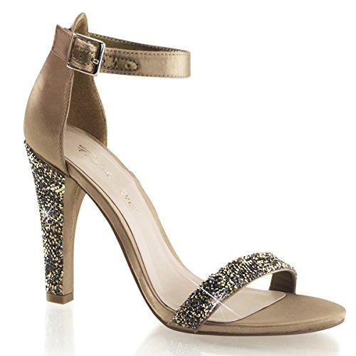 Fabulicious Clearly-436 sexy High Heels Strass Sandaletten Satin Bronze 35-43 Übergröße