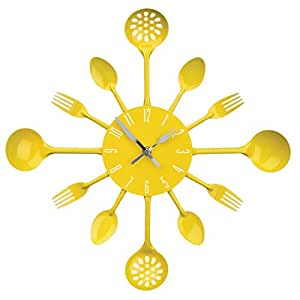 Cutlery Kitchen Metal Utensil Wall Clock Spoon Fork Ladel Clock / Decorative Clock, Colorful (Yellow)