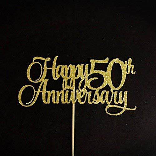 Happy 50th Anniversary Topper Golden Anniversary Cake Topper 50 Years Anniversary Centerpiece
