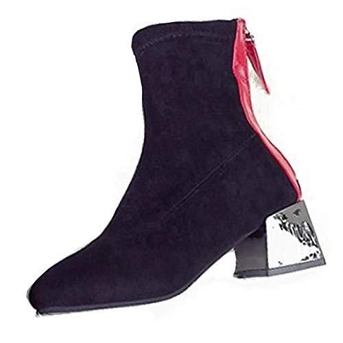 Black 6 US Black 6 US Women's Fashion Boots PU(Polyurethane) Winter Casual Boots Chunky Heel Mid-Calf Boots Black