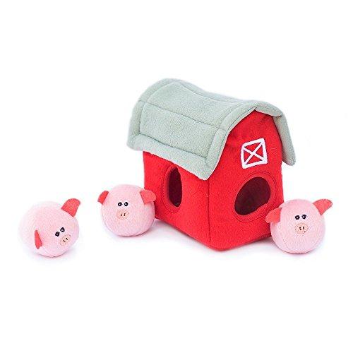 ZippyPaws Farm Pals Burrow, Interactive Squeaky Hide and Seek Plush Dog Toy - Bubble Babiez Pig Barn