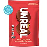 UNREAL Dark Chocolate Peanut Butter Cups   Less Sugar, Vegan, Gluten Free   6 Bags -  Unreal Brands