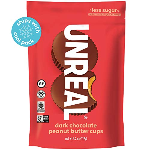 UNREAL Dark Chocolate Peanut Butter Cups | Less Sugar, Vegan, Gluten Free | 6 Bags (Unreal Dark Chocolate Crispy Quinoa Peanut Butter Cups)