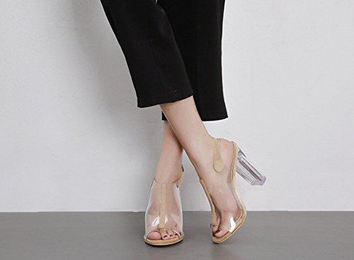 Schnalle Kunststoff Toe Peep Aprikosenfarben Blockabsatz Damen mit Transparent Sommerstiefel Aisun q8vwIZp