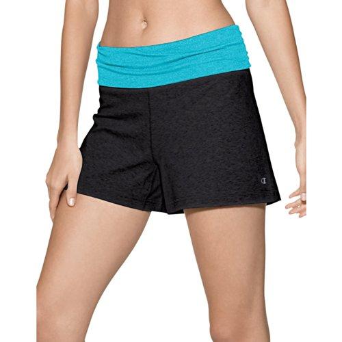 Champion - Pantalón corto deportivo - para mujer Black/Hot Turquoise Heather