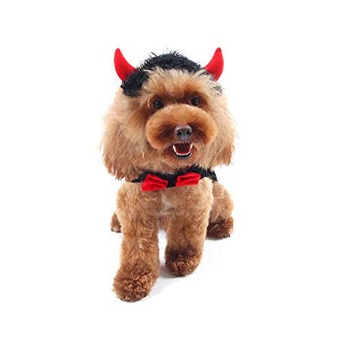HBuir Pet Custom Devil Cape with Matching Hat,Red,Large - Devil Costume For Dogs