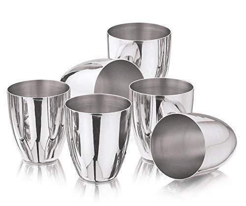 Set of 6 Steel Tableware Drinkware Tumbler Drinking Glasses Set of 6 Mirror Finish,Premium Grade Stainless Steel Pint Cups Water Tumblers (6 Piece) Unbreakable Drinking Glasses,Chilling Beer Glasses