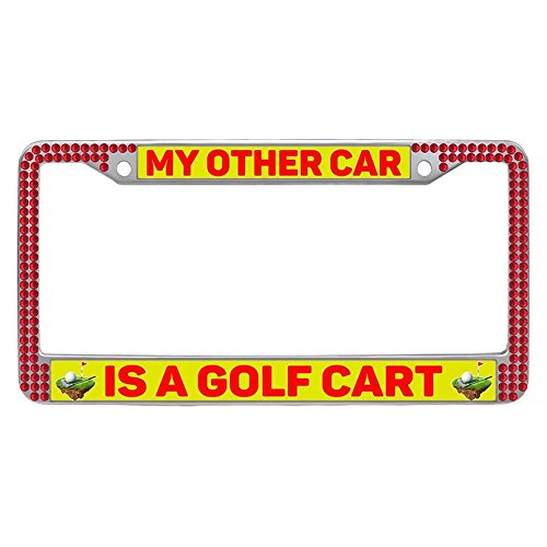 Hensonata Bling Bling red rhinestones License Plate Frame, funny MY OTHER CAR IS A GOLF CART desing printed Bling crystal Waterproof License frame car with Crystal Bolts Washer Caps for US and Canada
