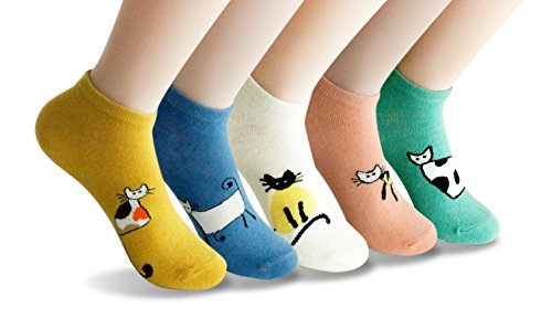 LL&Love 100% Cotton, Cute, Funny and Fashionable Casual Women's Low Cut Socks (Style (100 Cotton Socks)