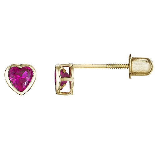 14kt Solid Gold Kids Heart Stud Screwback Earrings - Ruby