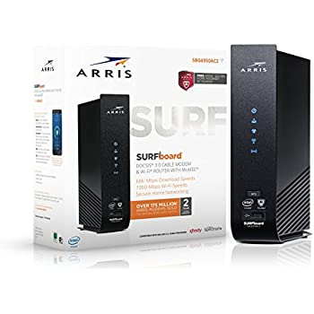 ARRIS SURFboard SBG6950AC2 DOCSIS 3.0 16x4 Cable Modem / AC1900 Wi-Fi Router / McAfee Whole Home Internet Protection- Retail Packaging, Black