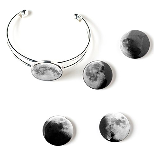 Interchangeable Moon Phase Cuff Bracelet (Shiny Silver ()