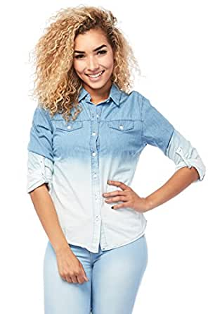 Womens Ombre Roll Up Sleeves Denim Button Down Shirt Top