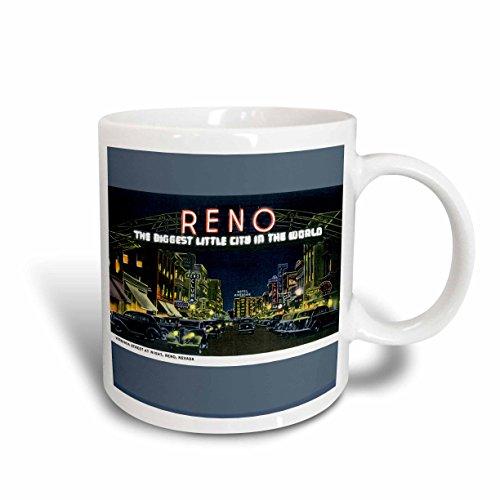 3dRose Reno The Biggest Little City in The World Night Scene Reno, Nevada Ceramic Mug, 15 oz, - Nevada Outlets Reno