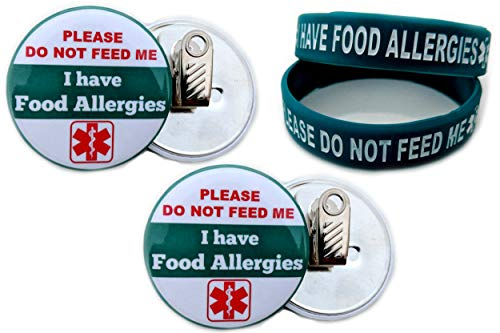 Bracelets and Buttons I HAVE FOOD ALLERGIES. PLEASE DO NOT FEED ME Allergy Bracelet for Kids 2pcs Toddler Size/Button Bulldog Clip-back 2.25