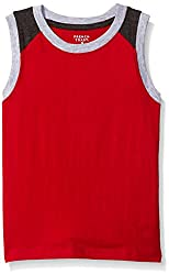 French Toast Little Boys' Muscle Tee, Colorblocked Red, 5
