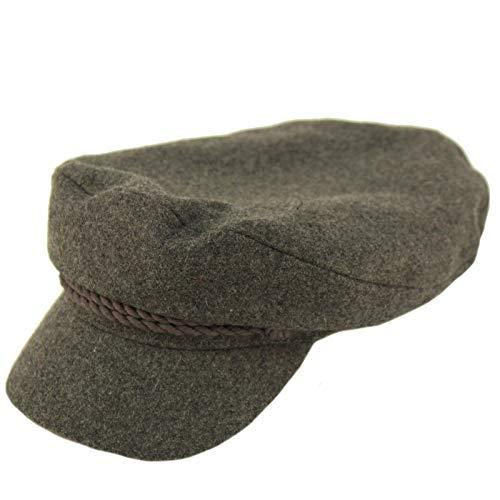 Men's 100% Soft Wool Greek Fisherman Sailor Fiddler Driver Hat Flat Cap Solid Charcoal