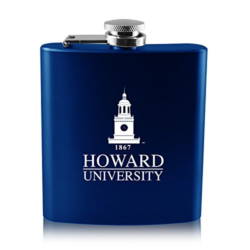 Howard University -6 oz. Color Stainless Steel Flask-Blue