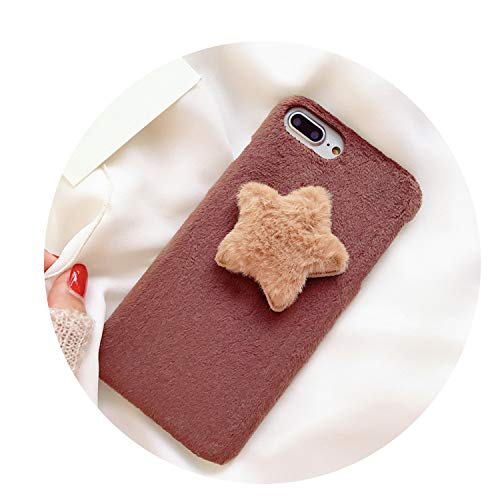 Simple Lovely Plush Star for iphonex Mobile Phone Shell 7/8plusf Anti Fall Protective Sleeve 6S Hard Shell,Brown,for iPhone X