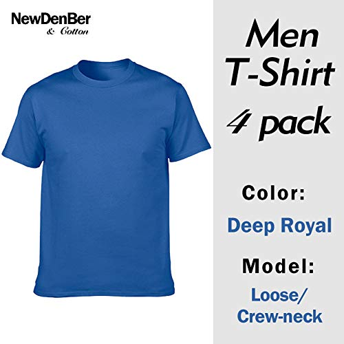 NewDenBer Men's Classic Basic Solid Ultra Soft Cotton T-Shirt 4 Pack