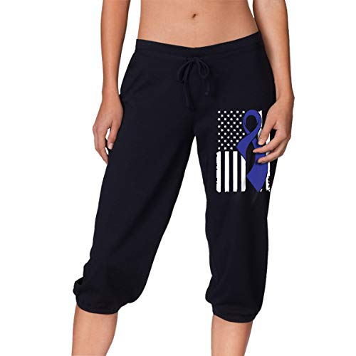Womens Tracksuit Cancer - LE4O0Y&PT Women's Casual Colon Cancer Awareness Flag Seven Socks Black