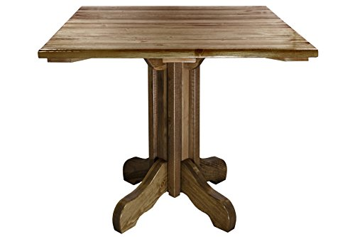 Montana Woodworks Homestead Collection Center Pedestal Table with Square Table Top, Stain and Lacquer Finish by Montana Woodworks