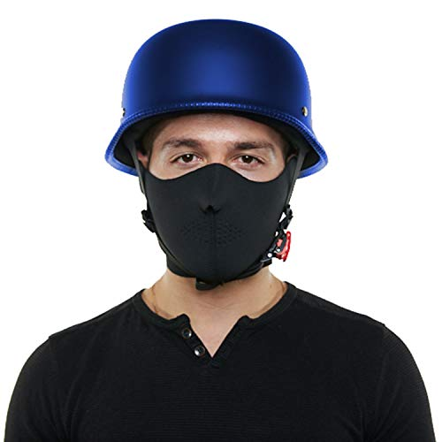 Nuzari DOT Approved Half Open Face Motorcycle German Helmet - Provides Durable Protection - Perfect For Cruiser, Touring, Scooter, Chopper or Harley Motorbike (XXL, Matte Blue)