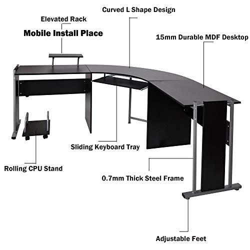 """L Shaped Corner Desk Computer Workstation Home Office: 71"""" L-Shaped Gaming Desk -Large Desktop Wood Corner Curved"""