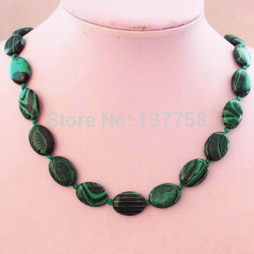 1strand Beautiful Green Man-Made Malachite Oval Necklace 17.5 Inch Y-175