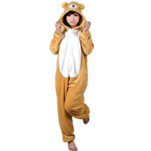 Autek Animal Unisex Onesie Fancy Dress Costume Hoodies Pajamas Sleep Wear Rilakkuma Bear