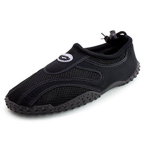Easy Mens Outdoor Beach Pool Creek Aqua Water Shoes (per Adulti) Nero