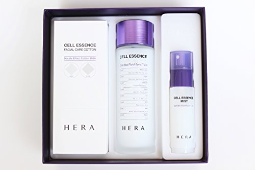 Hera Cell Essence Cell-Bio Fluid Sync 2.0 150ml 5 Oz 2016 New Version, Mist and Facial Care Cotton 60ea Special Gift Set 2016 New