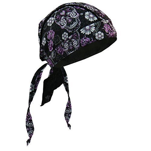 (Hot Leathers Authentic Bikers Premium Headwraps, SUGAR SKULL - High Quality Micro-Fiber & Mesh Lining HEADWRAP)