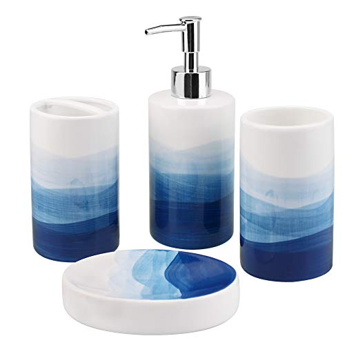 Rich Life 4 Piece Painted Ceramic Bathroom Accessory Set, Includes Soap Dispenser Pump, Toothbrush Holder, Tumbler, Soap Dish Sanitary, Ideas Home Gift for Ware Home Decor Bath(Blue)