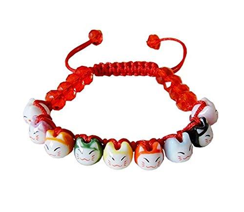 Merope J Handmade Womens 9 Lucky Cat Charm Ceramic Beads and Pine Stone Bracelets Adjustable -