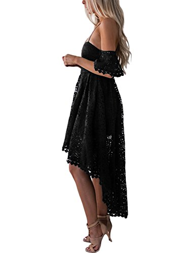 V Sleeveless Neck Low Hollow High Dress Lace AlvaQ 2 Black Women's Party A1Rqwx17