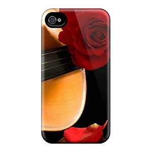 Case Cover Rose On Violin/ Fashionable Case For Iphone 4/4s