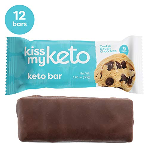 Kiss My Keto Bars - Low Carb (3g Net), Low Sugar Keto Snack Bars | Cookie Dough Chocolate Flavor, 12 Pack | Rich in Ketogenic Fats & Protein